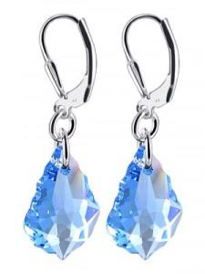 海蓝水晶纯银耳环